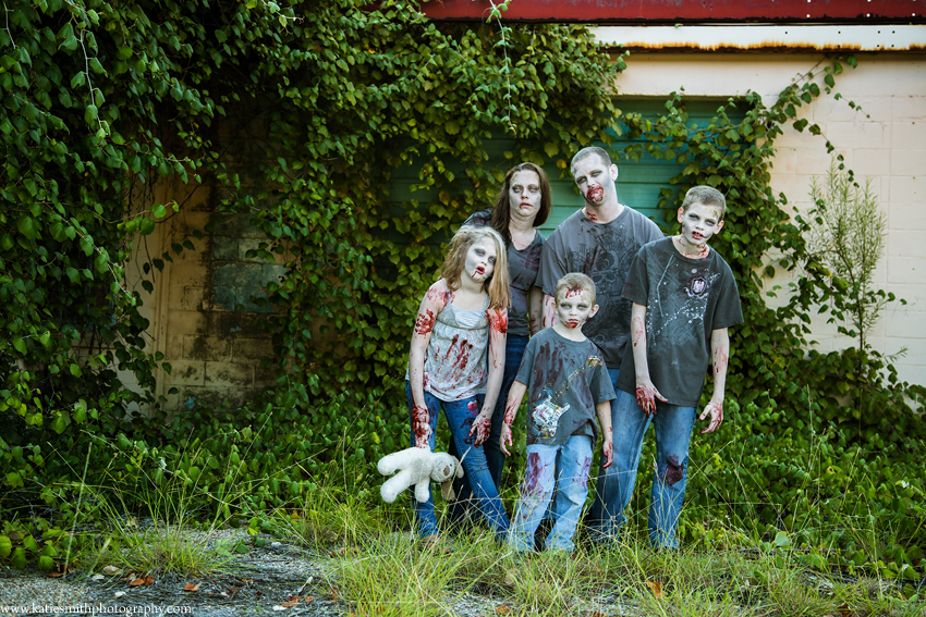 Zombie themed family portrait