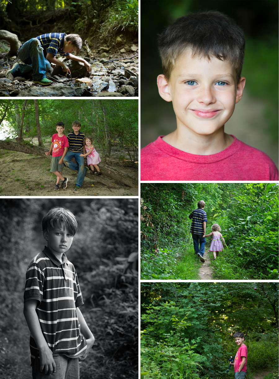 Pittsboro Children Photographer captures the imaginationa and discovery of playing in nature