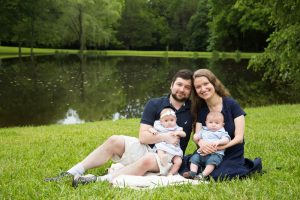Posed Family Portrait by pond in Hillsborough NC