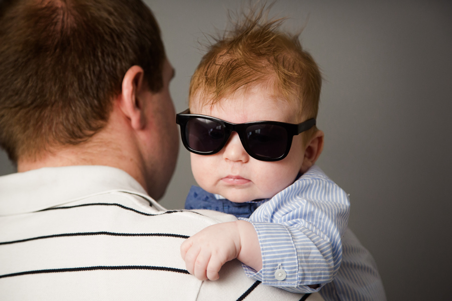 3 month old baby wearing sunglasses